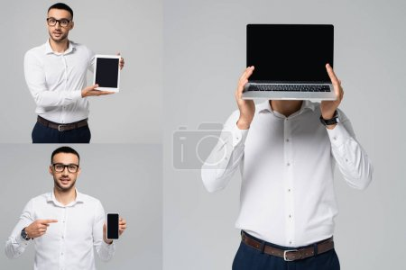 collage of hispanic businessman pointing with finger at smartphone, showing digital tablet, and obscuring face with laptop isolated on grey