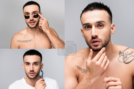 collage of young tattooed hispanic man applying eye patches, touching chin and shaving isolated on grey