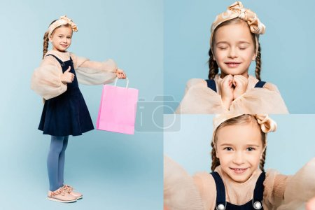 Photo for Collage of little customer holding shopping bag, smiling, showing thumb up and looking at camera on blue - Royalty Free Image
