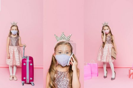 Photo for Collage of girl in medical mask talking on smartphone and standing on heels near baggage, present and shopping bags on pink - Royalty Free Image