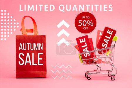 Photo pour Étiquettes rouges avec vente dans le chariot près du sac en papier avec lettrage de vente d'automne sur rose - image libre de droit