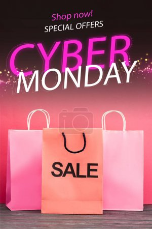 shopping bag with sale near near shop now, special offers, cyber monday lettering on pink, black friday concept