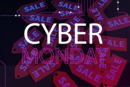 cyber monday lettering near red labels on black background