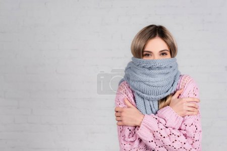 Photo for Woman in warm scarf and sweater suffering from cold on white background - Royalty Free Image