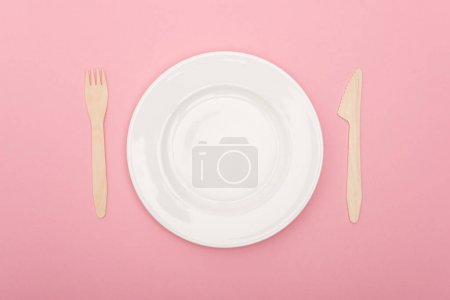 top view of disposable wooden cutlery near white plate isolated on pink