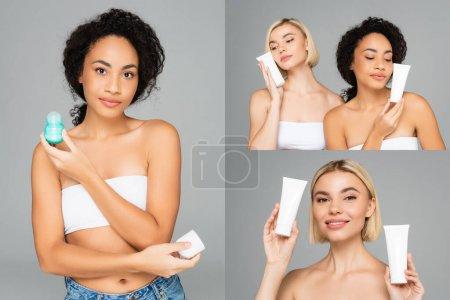 Collage de femmes multiethniques tenant la crème cosmétique et le déodorant isolés sur du gris