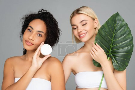 Photo for Smiling interracial women posing with cosmetic cream and tropical leaf isolated on grey - Royalty Free Image
