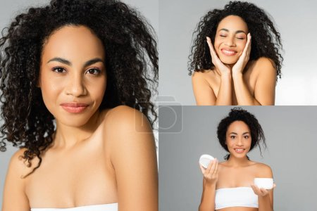 Collage of african american woman with clean skin smiling and holding cosmetic cream isolated on grey