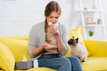 Upset woman with napkin looking at pills during allergy near siamese cat on sofa