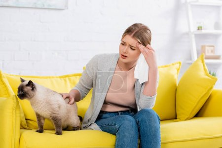 Tired woman with allergy holding napkin near siamese cat