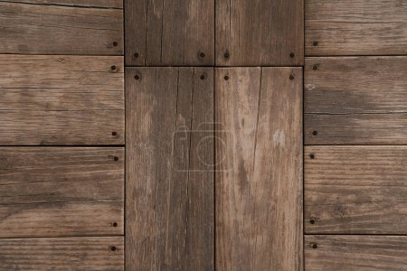 background of natural, grey wooden planks, top view