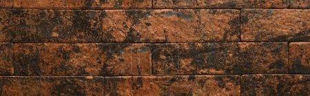 Photo pour Fond de mur de briques en dégradé brun et noir, vue de dessus, bannière - image libre de droit