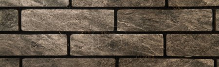 grey brick wall, textured background, top view, banner