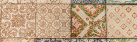 background with vintage, multicolored ornamental tiles, top view, banner