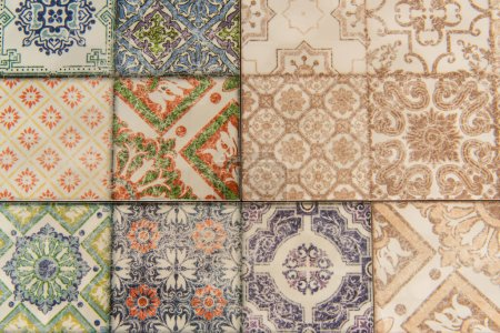 background of tiles with orient, multicolored ornamental pattern, top view