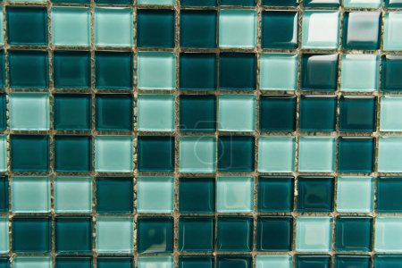 Photo for Background of small, green and blue glass tiles, top view - Royalty Free Image