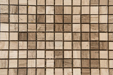 Photo for Small, beige marble tiles background, top view - Royalty Free Image