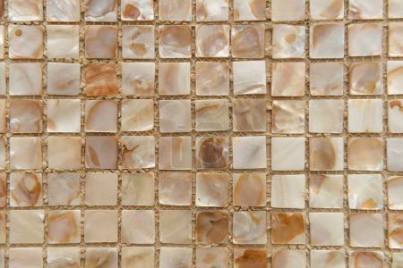 Photo for Nacreous beige tiles background, top view - Royalty Free Image