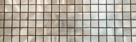 Photo for Background of nacreous grey tiled surface, top view, banner - Royalty Free Image