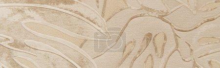 Photo pour Fond de papier peint texturé, avec motif floral en relief, vue sur le dessus, bannière - image libre de droit