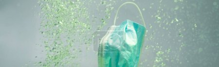 used protective mask underwater, ecology concept, banner