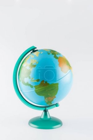 earth globe on stand isolated on grey, ecology concept
