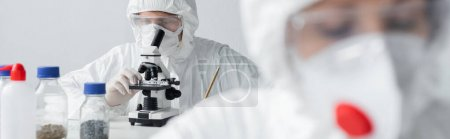 Photo for Scientist working with microscope near colleague on blurred foreground, banner - Royalty Free Image