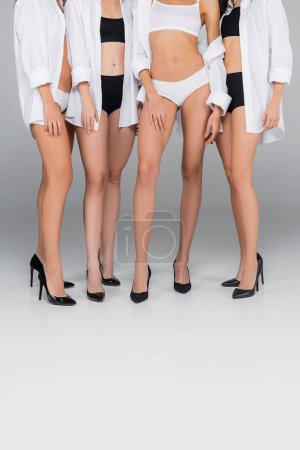 Photo for Partial view of young women in underwear, shoes and shirts posing on grey - Royalty Free Image