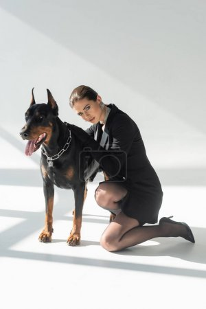 Photo for Sensual, brunette woman leaning on doberman dog on grey background with shadows - Royalty Free Image