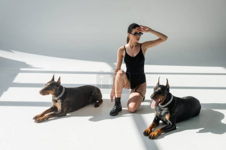 woman in bodysuit and sunglasses looking away near dobermans on grey background with shadows
