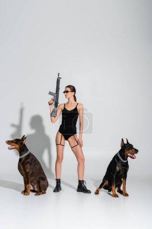 Photo pour Femme sexy en body noir tenant fusil près de chiens doberman sur fond gris avec des ombres - image libre de droit