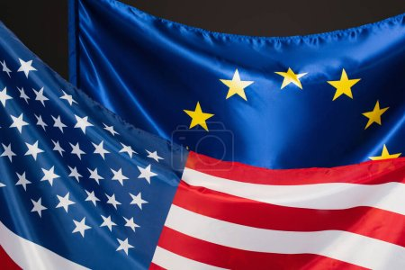 European union and american flags isolated on black