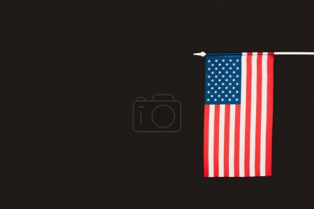 flag of america with stars and stripes isolated on black