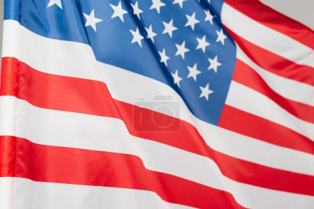 close up of national flag of america with stars and stripes