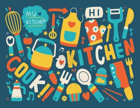 Illustration pour Cuisine et fond de cuisine - image libre de droit