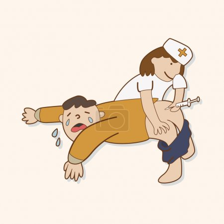 Illustration for Hospital theme nurse and patient elements vector - Royalty Free Image