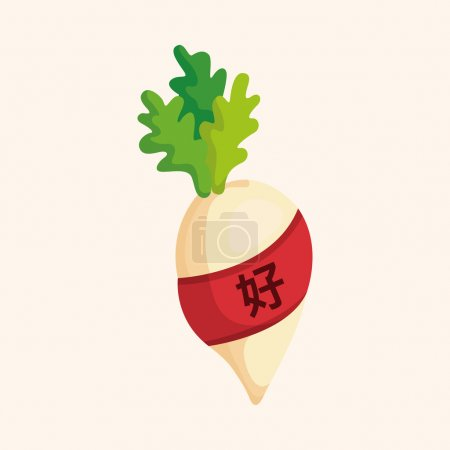 Chinese New Year theme elements, lucky white radish with Chinese