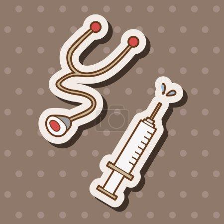 Illustration pour Thème de l'hôpital Stéthoscope et éléments de seringue vecteur, eps - image libre de droit