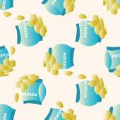fast foods potato chips  cartoon seamless pattern background