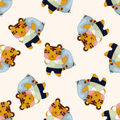 animal tiger worker cartoon seamless pattern