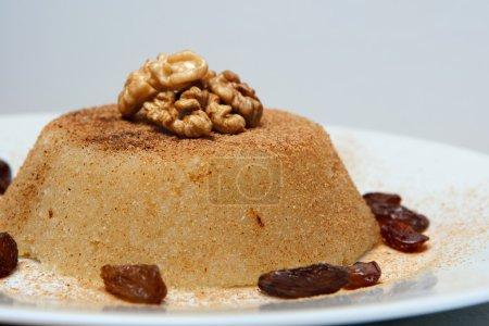 Semolina halva sweet desert on plate