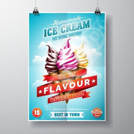 Illustration pour Vector délicieux Ice Cream Flyer Design sur fond de ciel. Illustration Eps 10. - image libre de droit