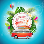 Vector Enjoy the Summer Holiday typographic illustration on white badge and floral background Tropical plants flower travel van and air balloon