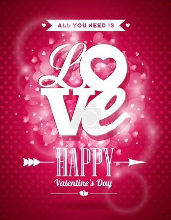 Illustration pour Illustration vectorielle de la Saint-Valentin avec motif typographique Love sur fond brillant. SPE 10 . - image libre de droit