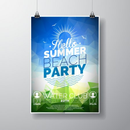 Vector Party Flyer poster template on Summer Beach theme with abstract shiny background.