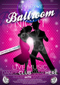 Vector Ballroom Night Party Flyer design with couple dancing tango on dark background EPS 10 illustration