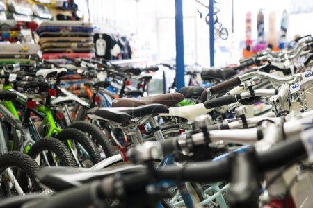 Photo for Bicycles in a bike shop. - Royalty Free Image