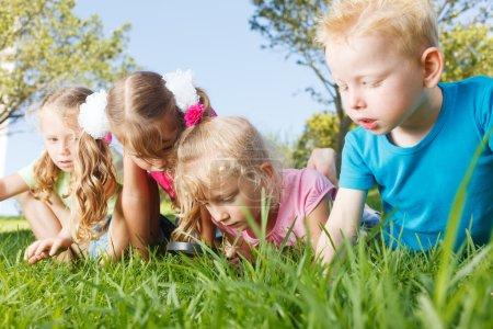 Foto de Niños en edad preescolar explorando la naturaleza con lupa - Imagen libre de derechos