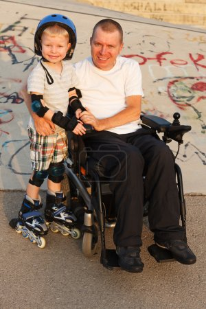 We rollerblading with son