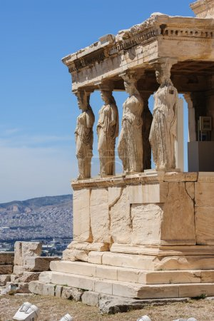 Photo for Six Caryatids or karyatides at Porch of the Erechtheion in Acropolis at Athens. - Royalty Free Image